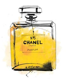 """Where should one use perfume?"" a young woman asked.  ""Wherever one wants to be kissed."" - Coco Chanel!!    Illustration by Patrick Morgan!!"