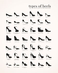 Women shoes Trends High Heels - Women shoes High Heels Classy The Dress - Women shoes For Work Over 40 - Fashion Terminology, Fashion Terms, Fashion Design Drawings, Fashion Sketches, Fashion Infographic, Types Of Heels, Shoe Types, Retro Mode, Fashion Dictionary