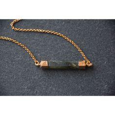 Mint Jules 24k Gold Overlay Labradorite Horizontal Hex Bar Pendant Necklace