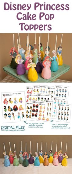 Create your own Disney Princess cake pops with a printable of your favorite characters: Elsa and Anna from Frozen, Merida, Rapunzel, Belle, Sleeping Beauty, Cinderella, Pocanhonta, Tiana, Mulan, Jasmine, Ariel and Snow White.