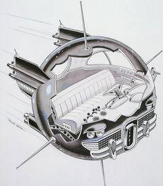 Spherical Sputnik-like concept. Art by Russ Heath