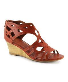 Look what I found on #zulily! Brown Cutout Nicki Wedge Sandal #zulilyfinds