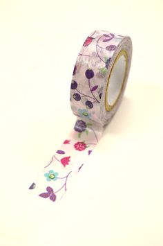Washi Tape  15mm  Pink Aqua Purple Floral Pattern  by InTheClear, $3.30