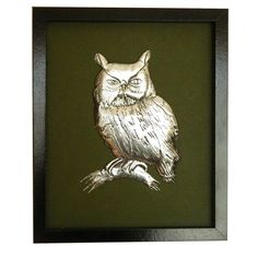 A Pewter Sculpture of a barn owl on a dark green background in a plain black wooden frame. I chose the dark background and frame to highlight the antique silver look of the pewter. Pewter Art, Pewter Metal, Dark Green Background, Metal Embossing, Conkers, Dark Backgrounds, Metal Working, Antique Silver, My Design