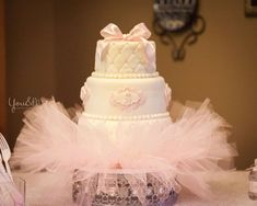 Shabby chic baby shower party tutu cake! See more party planning ideas at CatchMyParty.com!