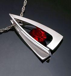garnet necklace - red - Mozambique garnet pendant - statement necklace - January birthstone - geometric - modern jewelry - 3483