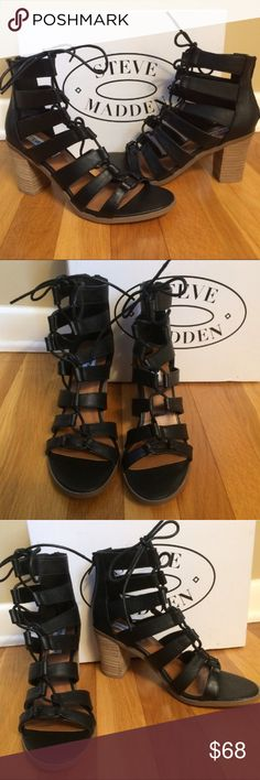 """STEVE MADDEN 'Dessie' Lace Up Black Leather Sandal Authentic STEVE MADDEN 'Dessie' Lace Up Black Leather Sandal Size 6.5M Brand New In Box. Purchased at retail store.   Details Sizing: True to size.  - Open toe - Ghille lace-up closure - Suede or leather strappy construction - Topstitched detail - Stacked heel - Approx. 3"""" heel - Imported Materials Leather or suede upper, manmade sole Steve Madden Shoes Sandals"""
