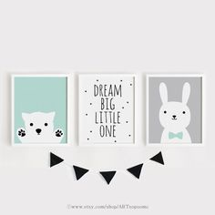 Printable Nursery Art Set of 3 Poster Baby room Wall art Kids