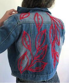 Embroidery On Clothes, Shirt Embroidery, Embroidered Clothes, Embroidery Fashion, Embroidered Jacket, Bone Bordado, Jean Diy, Custom Denim Jackets, Painted Jeans