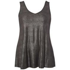 Silver Shimmer Swing Vest Top ($45) ❤ liked on Polyvore featuring tops, silver tank, shimmer tops, silver tank top and silver top