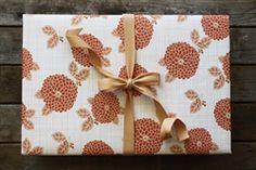 Tangerine Dahlias Gift Wrap, eco-friendly www.thegreendaisy.com