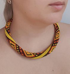Items similar to Colorful bright african crochet necklace, Seed bead ethnic choker, Ukrainian boho beaded jewelry, Summer crochet rope, Geometric on Etsy Seed Bead Necklace, Lariat Necklace, Leather Necklace, Crochet Necklace, Bead Crochet Patterns, Beading Patterns, Yellow And Brown, Orange Yellow, Turquoise Tassel Earrings