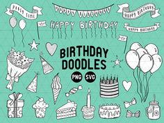 Birthday Doodles, Birthday Doodle Clipart, Birthday Clipart, Birthday Line Art, Birthday Banners, Birthday Party Clipart, Birthday SVG  This listing is for a clipart set of 29 digitally hand drawn birthday design elements. Can be used digitally or in print. Perfect for invitation design, scrapbooking, cardmaking, stickers, announcement cards, blogs, digital stamps, greeting cards, web design, decorations or anything! ≈≈≈≈≈≈≈≈≈≈≈≈≈≈≈ WHAT YOU GET: ≈≈≈≈≈≈≈≈≈≈≈≈≈≈≈  • 29 PNG files + 1 SVG file…