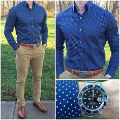 Blue and Tan  Two of my favorites come together in today\'s outfit❗️ @jachsny makes the most incredibly comfortable and awesome fitting chinos❗️ And, the guys at @batchmens continue to make some of the most amazing shirts❗️ Do you like today\'s outfit❓  Shoes: @allenedmonds  Watch: @crownandcaliber  Belt: @missionbeltco  Shirt: @batchmens  Pants: @jachsny