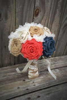 Burlap set in classic, ivory, coral and navy