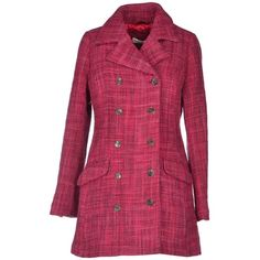 Odd Molly Coat (440 CAD) ❤ liked on Polyvore featuring outerwear, coats, fuchsia, purple coat, long sleeve coat, odd molly, double-breasted coat y tweed coat