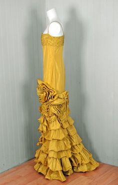 1990's Valentino Couture sculpted chartreuse taffeta tiered gown. Side view