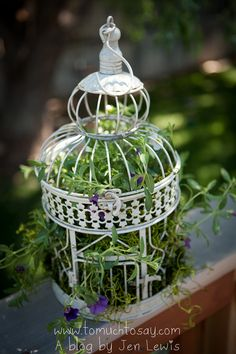 would like to do this on some of the tables.. Love it! Decorative Bird cage filled with flowers