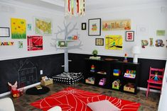 Colorful kids playroom with chalkboard painted wall