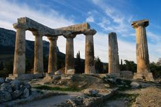 The 5th century BC Doric Temple of Apollo at the site of Ancient Corinth in Greece.
