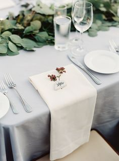 Matchless arraigned California wedding locations More Info Wedding Locations California, California Wedding, Grey Tablecloths, White Napkins, White Linens, Wedding Place Settings, Beautiful Table Settings, Wedding Places, Deco Table