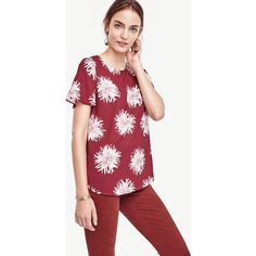 Ann Taylor Chrysanthemum Polished Tee (1,125 MXN) ❤ liked on Polyvore featuring tops, t-shirts, tawny port, short sleeve tee, knit top, polish t shirts, short sleeve tops and long tee