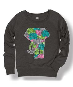 Another great find on #zulily! Heather Charcoal Elephant Floral Slouchy Sweatshirt #zulilyfinds