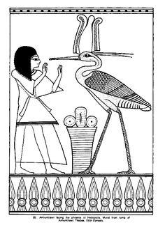 Image à colorier du Phoenix, un aigle qui représente la résurrection en Egypte.