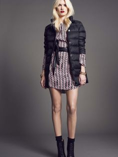 """Model wears Naughty Dog quilted jacket,  """"my chain"""" silk dress and eco leather belt."""