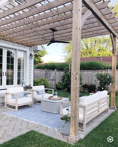 backyard patio designs Outdoor patio space with herringbone pavers, Pottery Barn outdoor rug, Serena & Lily pillows, World Market outdoor furniture, pergola with fab and lights # Patio Pergola, Backyard Patio Designs, Backyard Landscaping, Patio Ideas With Pergola, Pergola With Lights, Outdoor Patio Rugs, Pergola Designs, Wooden Pergola, Outdoor Patio Decorating