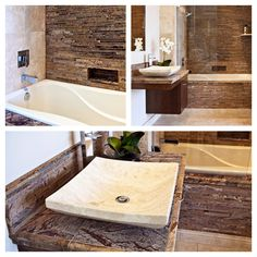 Forest Brown Marble Bathroom with Travertine sink.