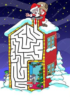 Christmas Maze, All Things Christmas, Winter Christmas, Christmas Crafts, Xmas, Christmas Activities For Kids, Book Activities, Holiday Games, Hidden Pictures
