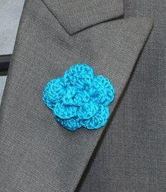 Crochet Mens Lapel Accent Flower Buttonhole by LittleMonkeyShop
