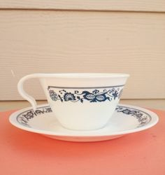 Old Town Blue Pyrex Corelle Cup and Saucer by GypsyBeeeVintage, $5.00