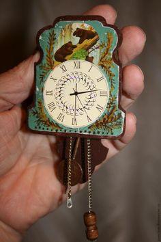 Часы-ходики из спичечного коробка в кукольный дом - Ярмарка Мастеров - ручная работа, handmade timepiece from a matchbox tutorial (use translator)