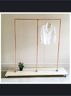 54 Tall Industrial Copper Clothing Rack w/ Shoe by goldenrulenyc