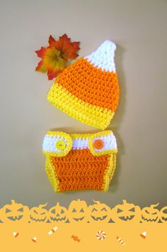 Candy Corn Halloween Newborn Hat and Diaper Cover by HookMadness, $30.00