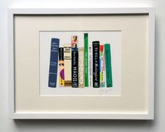 Genius Christmas gifts DIY idea: paint your friends' favorite books for this adorable print.