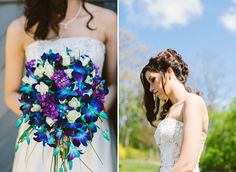 Love this bouquet! This couple used a lot of our wedding ideas.blue dendrobium orchids in the bouquets, purple for the bride's party, blue for the groom's party. maybe use teal and white accents in the table settings or stationery? Purple Wedding Bouquets, Bride Bouquets, Bridal Flowers, Flower Bouquet Wedding, Wedding Colors, Teal Bouquet, Trendy Wedding, Perfect Wedding, Our Wedding