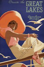 Great Lakes vintage cruise travel poster repro 24x36