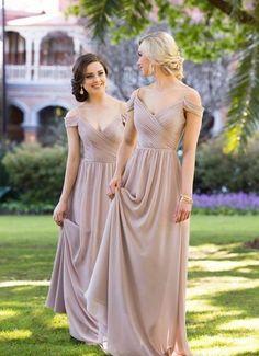 Elegant A-line Long Chiffon Bridesmaid Dress Wedding Party Dress