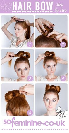 How to do a hair bow: Step by step!     1.Brush hair into a ponytail.    2.Loop the hair and put a band around it. Loop forward to cover up the hair band.      3.Feed half the ends through the loop and feed back on itself.     4.Secure the ends through the loop and secure with pins.      5.Pin down middle of bow