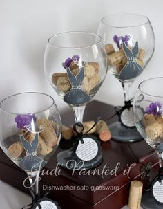 Bridesmaid dresses, hand painted wine glasses by Judi Painted it. $24 each Huge 20oz Bridesmaid hand painted wine glasses. A wide range of colors, designs and FREE personalization on all orders. All glassware is hand painted with enamel paint followed by a clear coat for extra durability and baked on making them dishwasher safe. View and place orders at judipaintedit.com or http://www.etsy.com/shop/JudiPaintedit?ref=top_trail