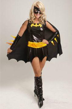 Sort Superhero Batgirl Kostume til Halloween