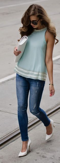 Sea Foam Top Outfit Idea by For The Love Of Fancy