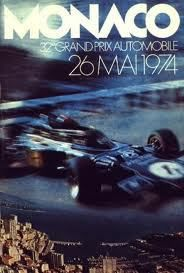 The poster for the 1974 Monaco Grand Prix featured a Lotus 72 car in black and gold John Player Special trim Art Deco Posters, Car Posters, Poster S, Vintage Posters, Event Posters, Retro Posters, Monte Carlo, F1 Mexico, Sport Cars
