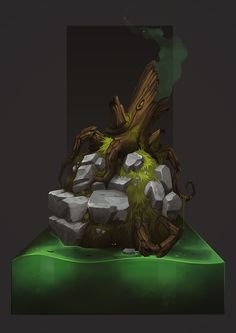 Environment props - Old Stump, Max Bondarenko ( TG ) on ArtStation at https://www.artstation.com/artwork/q2Ogn