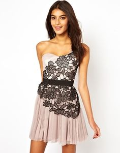 Lipsy One Shoulder Lace Detail Prom