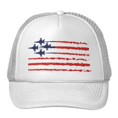 USA Flag - Stars and Stripes - Blue Angels Diamond White Hat / Cap