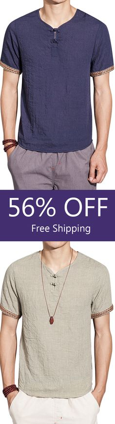 fe45c40ea4c Mens Cotton Linen Chinese Style Retro Solid Color Summer Archaic Shirts
